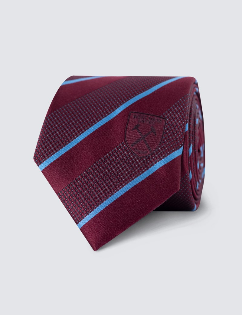 Men's Burgundy & Blue Stripe West Ham Club Stripe Tie - 100% Silk