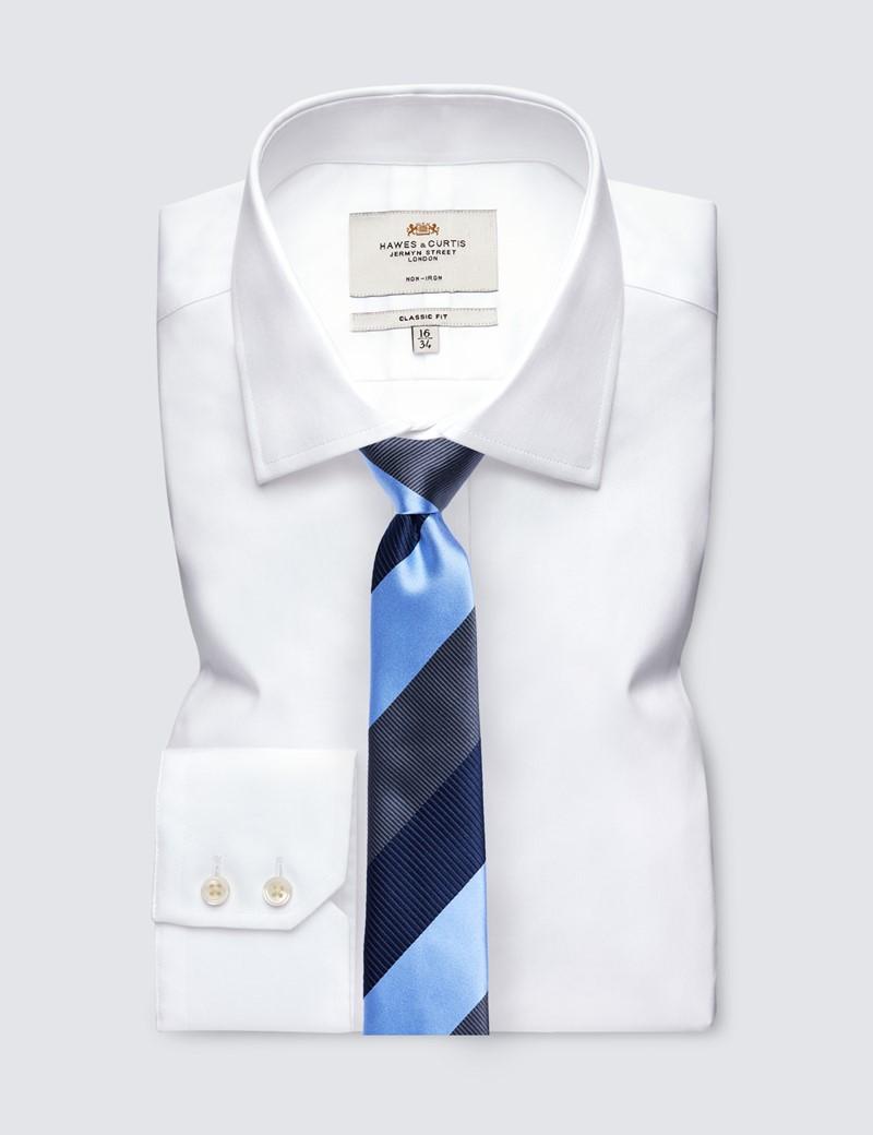 Men's Navy & Blue Stripe Tie - 100% Silk