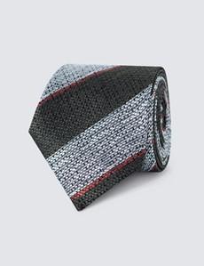 Men's Green Marl Stripe Tie - 100% Silk