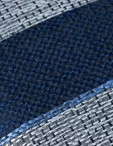 Men's Navy Marl Stripe Tie - 100% Silk