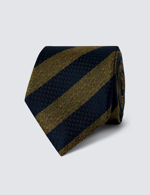 Men's Navy & Yellow Texture Club Stripe Tie - 100% Silk