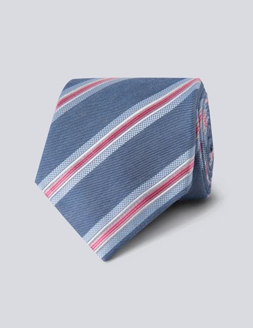 Men's Blue & Pink Triple Stripe Tie - 100% Silk