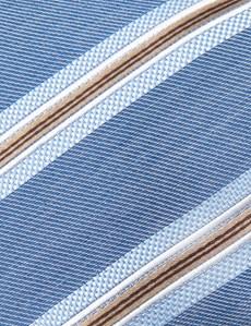 Men's Blue & Brown Triple Stripe Tie - 100% Silk
