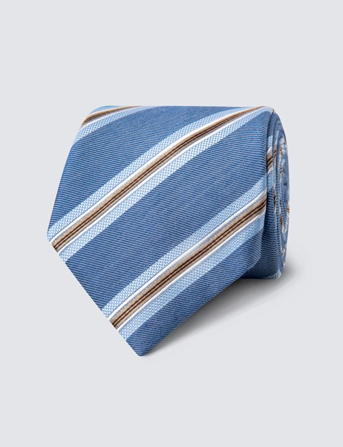 Men's Blue & Brown Triple Stripe Tie - 100% Silk