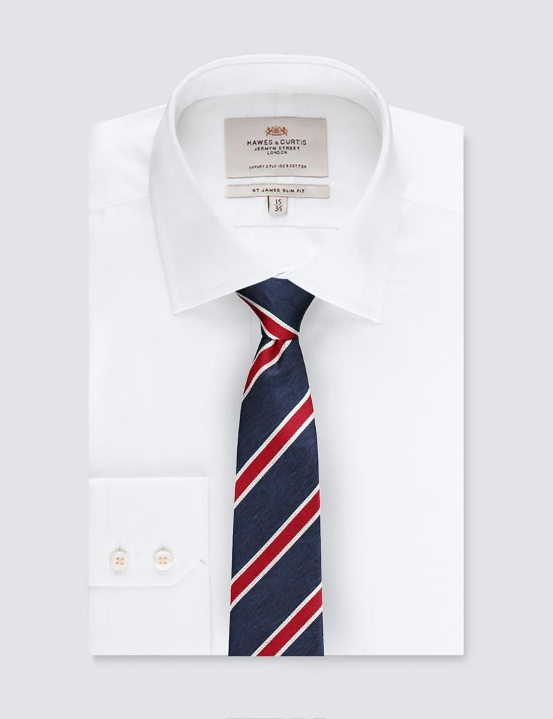 Men's Navy & Red Club Stripe Tie - 100% Silk