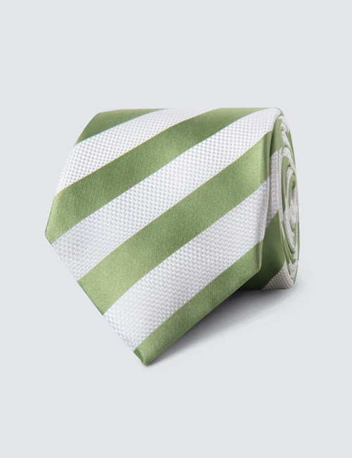 Men's Green & White Classic Stripe Tie - 100% Silk
