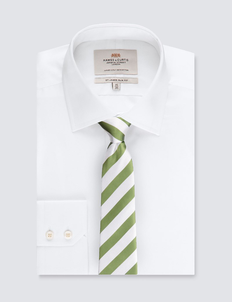 Men's Green & White Classic Stripe Tie - 100% Silk