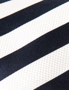 Men's Navy & White Classic Stripe Tie - 100% Silk