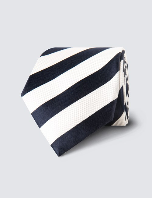 Men's Navy & White Classic Stripe Tie - 100% Silk