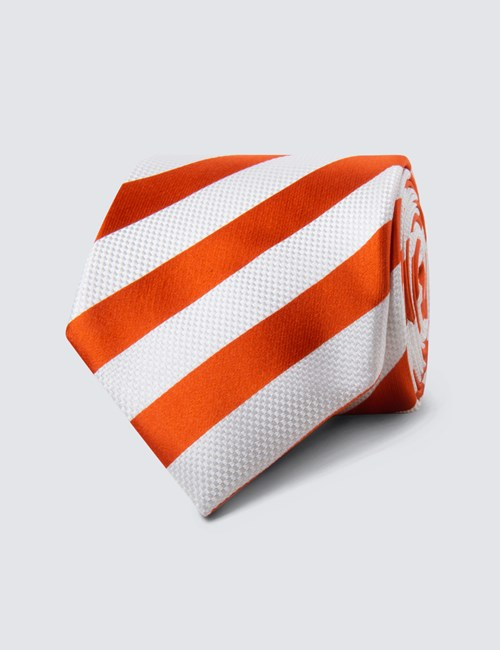 Men's Orange & White Classic Stripe Tie - 100% Silk