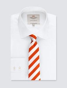Men's Orange & White Classic Stripe Tie - 100% Silk