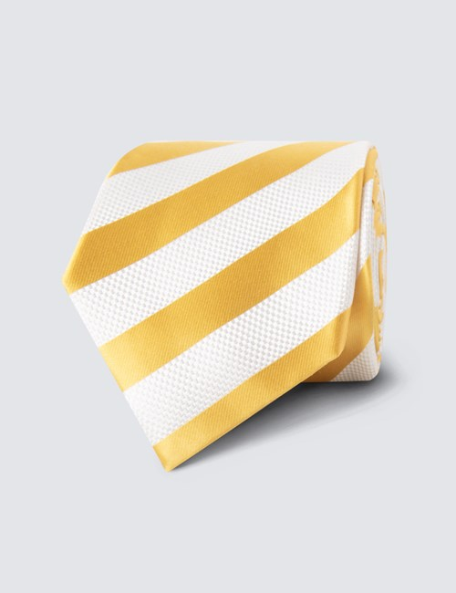Men's Yellow & White Classic Stripe Tie - 100% Silk