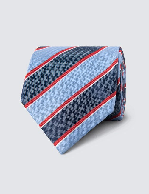 Men's Blue & Red Bold Stripe Tie - 100% Silk