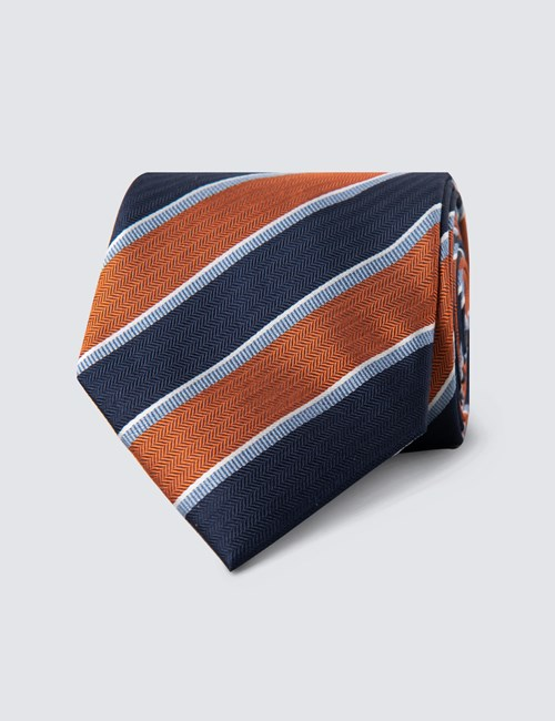Men's Navy & Orange Bold Stripe Tie - 100% Silk