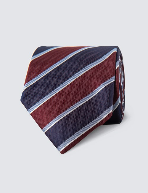 Men's Wine & Purple Bold Stripe Tie - 100% Silk