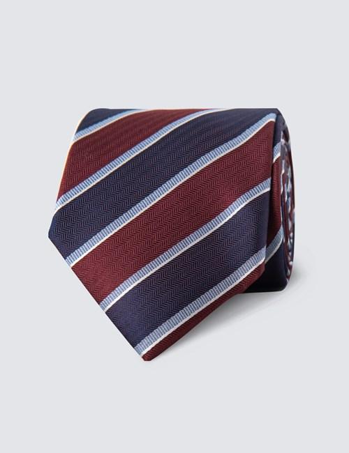 Men's Wine & Purple Bold Stripe Tie - 100% Silk