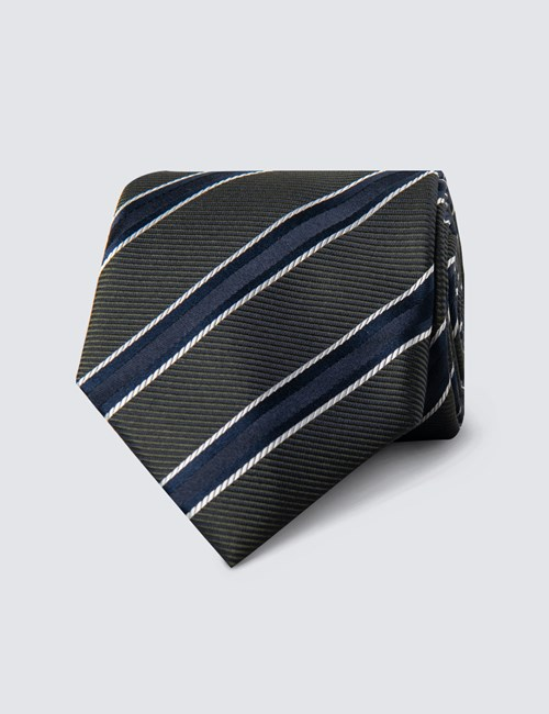 Men's Navy & Green Thick Stripe Tie - 100% Silk