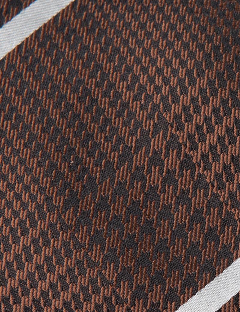 Krawatte – Seide – Standardbreite – Hahnentritt- & Streifendesign braun