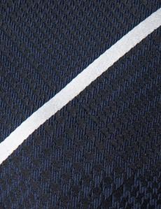Men's Navy & White Dogtooth Stripe Tie - 100% Silk