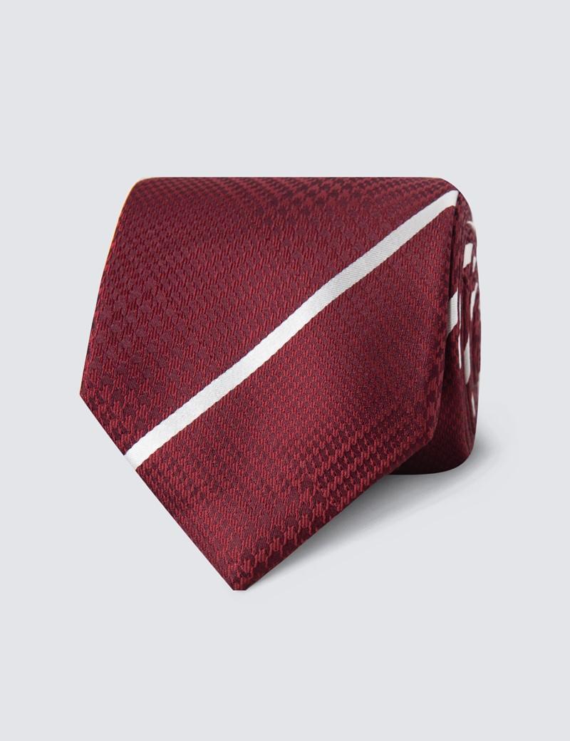 Krawatte – Seide – Standardbreite – Hahnentritt- & Streifendesign weinrot