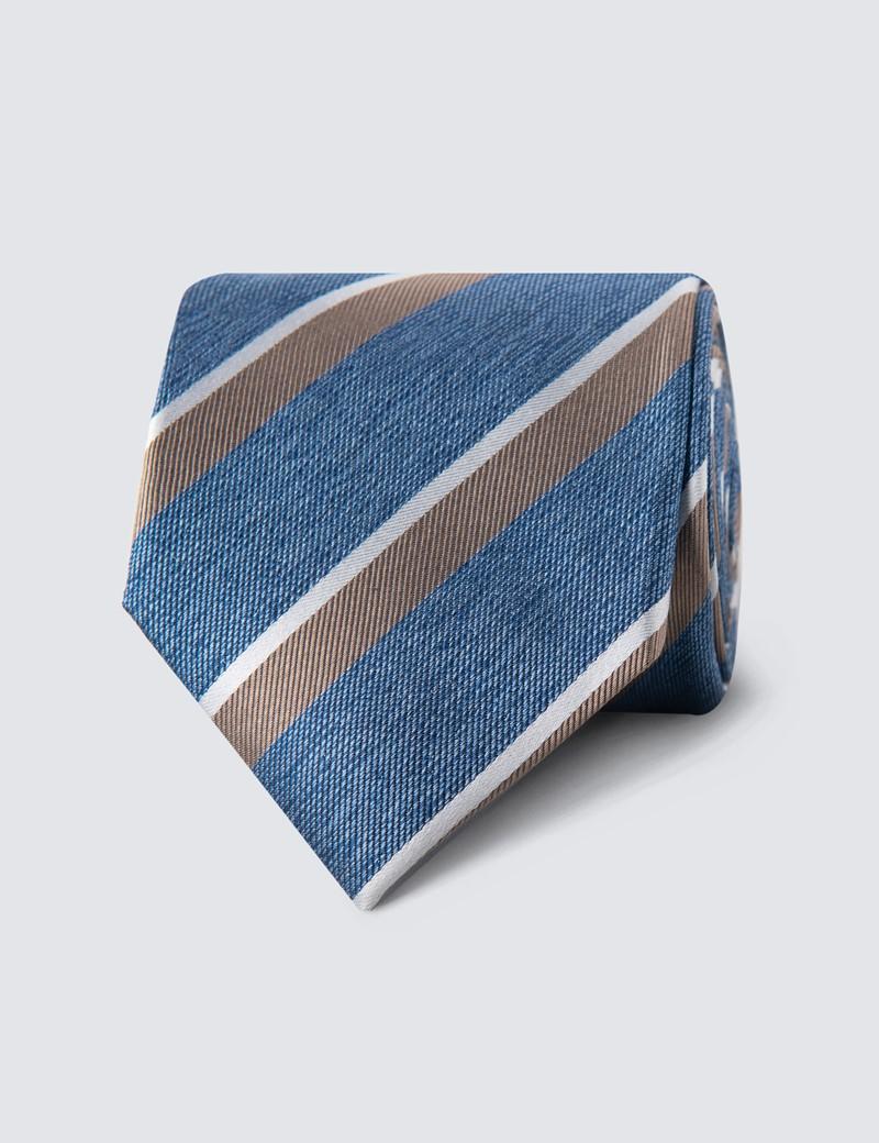 Men's Blue & Brown Two Tone Double Stripe Tie - 100% Silk