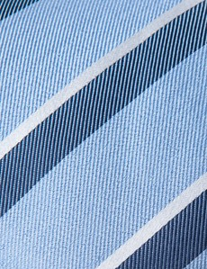 Men's Light Blue & Blue Two Tone Double Stripe Tie - 100% Silk