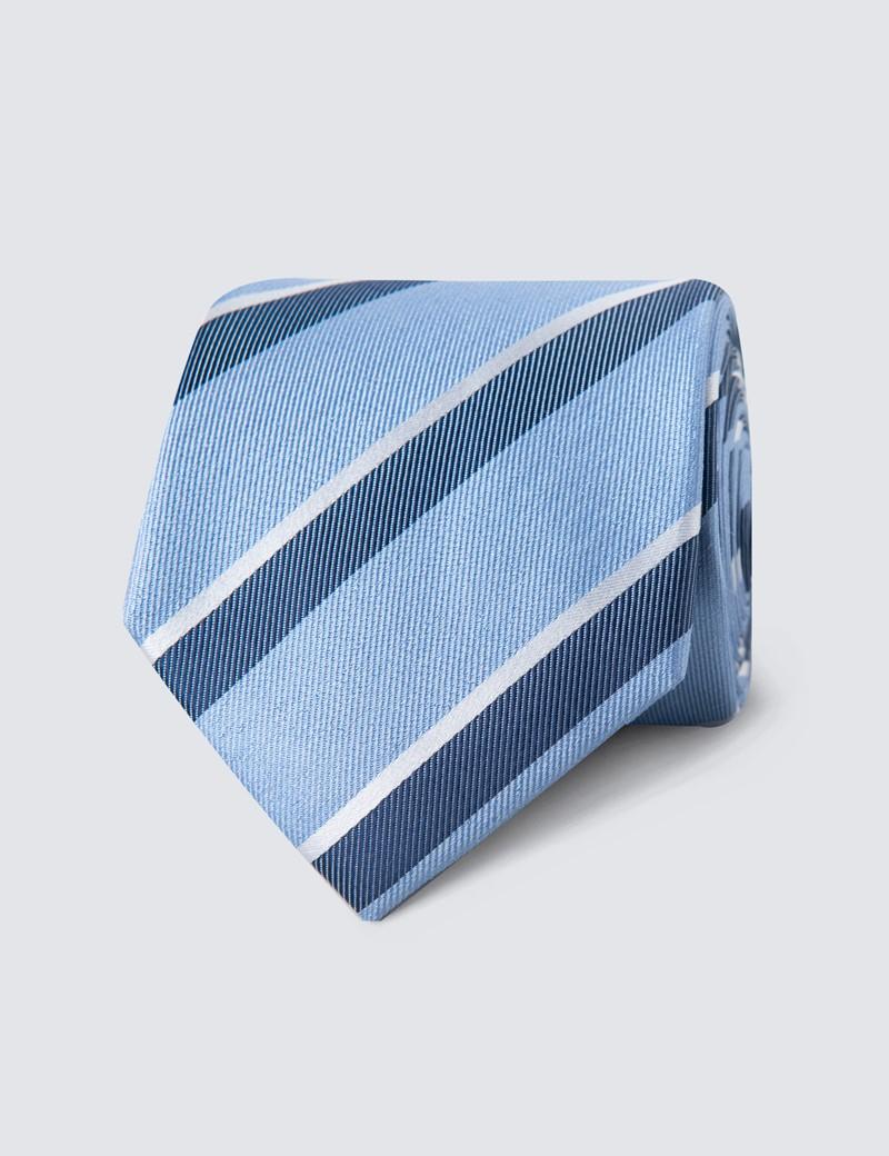 Men's Light Blue & Blue Two Tone Double Stripe Tie - 100% Silk