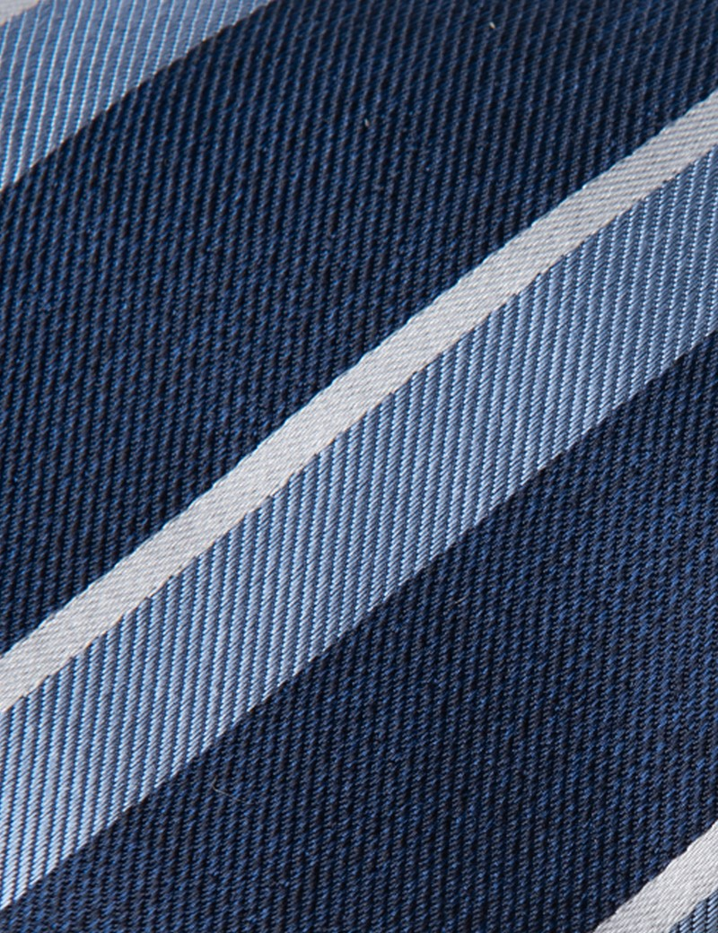 Men's Navy & Light Blue Two Tone Double Stripe Tie - 100% Silk