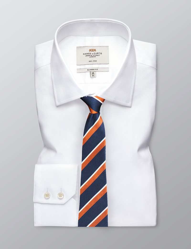 Men's Navy & Orange Two Tone Double Stripe Tie - 100% Silk