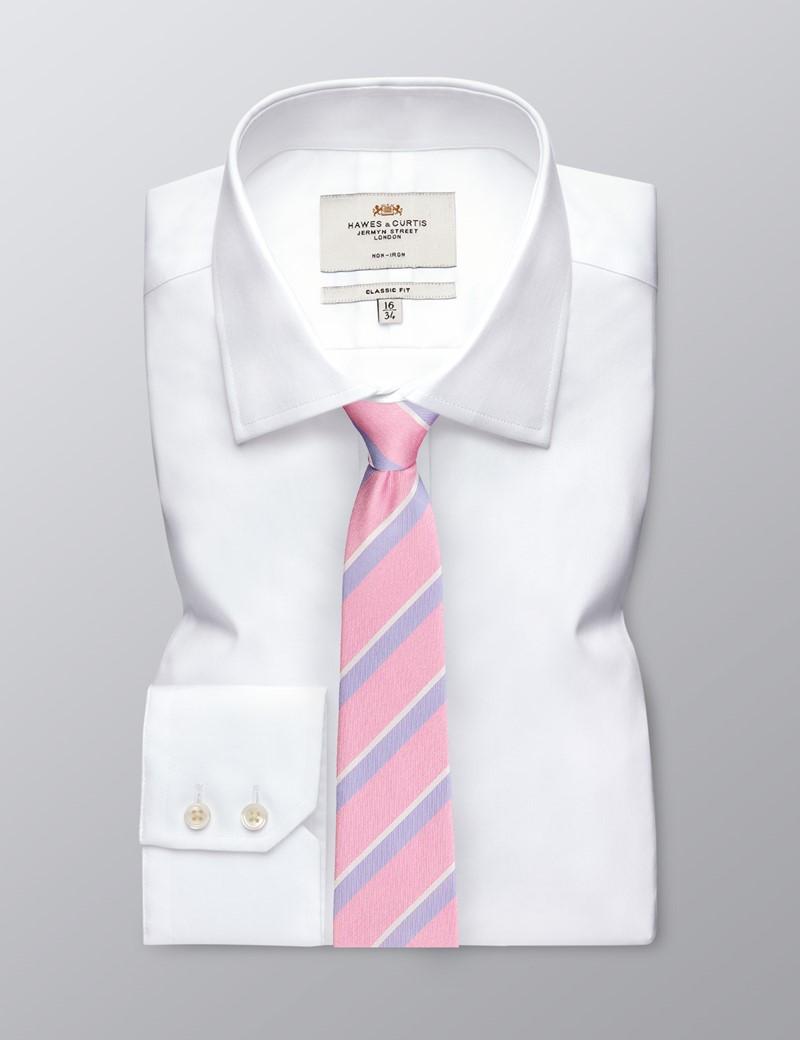 Men's Pink & Lilac Two Tone Double Stripe Tie - 100% Silk