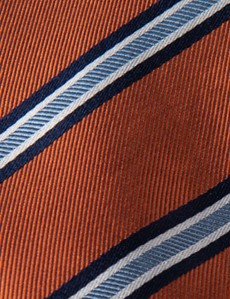 Men's Orange Wide Stripe Tie - 100% Silk