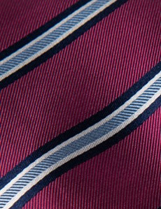 Men's Magenta Wide Stripe Tie - 100% Silk