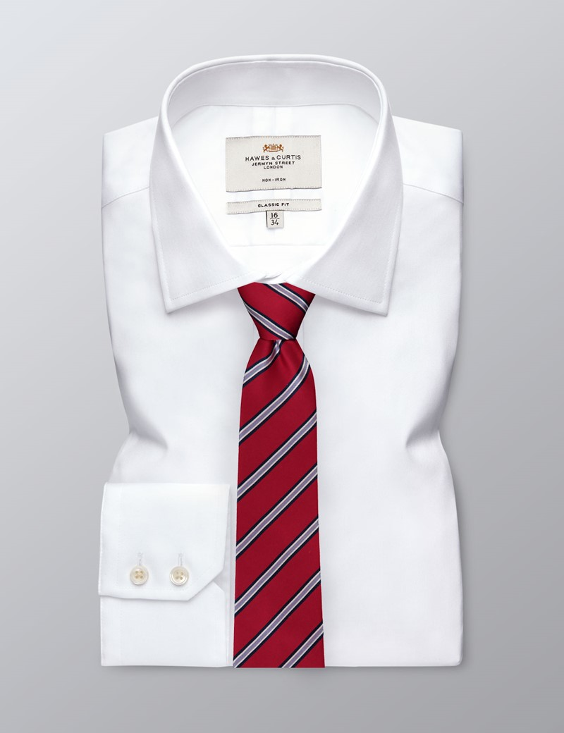 Men's Red Wide Stripe Tie - 100% Silk
