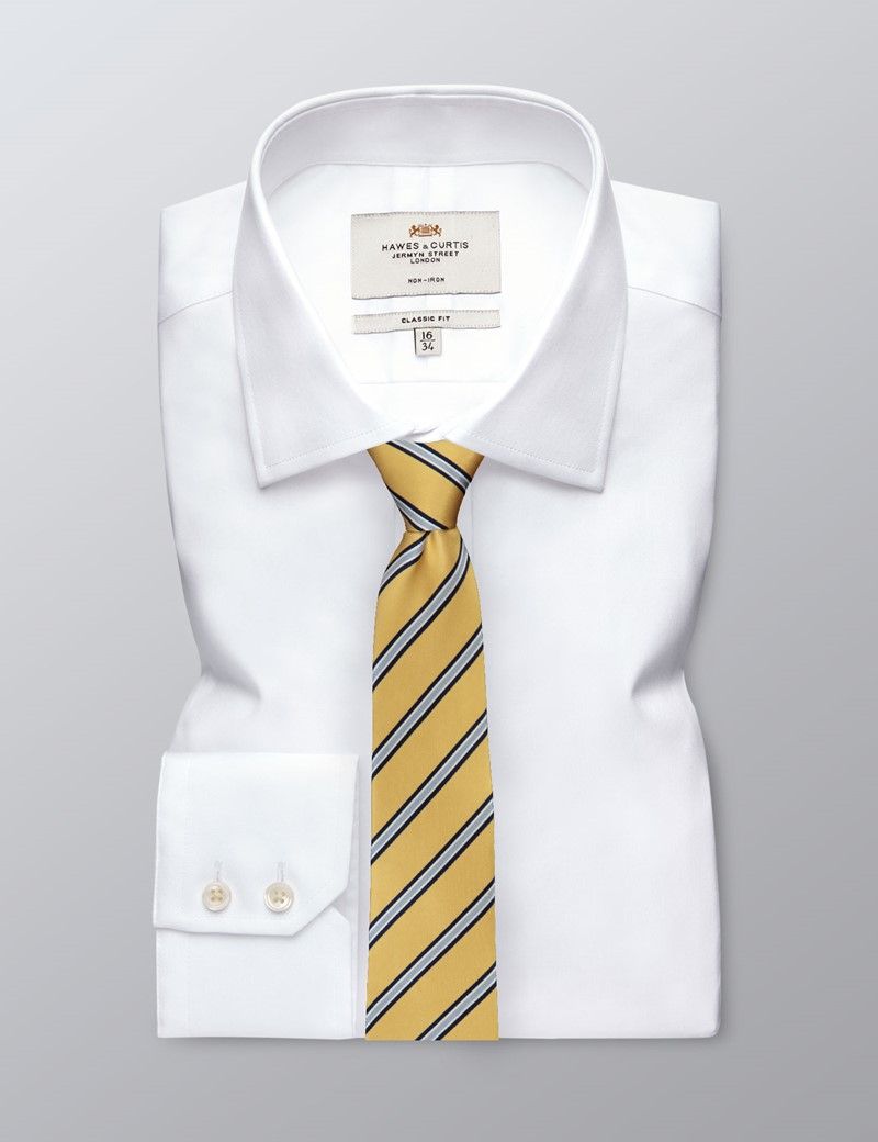 Men's Yellow Wide Stripe Tie - 100% Silk