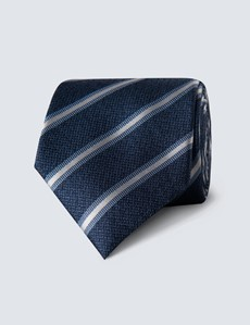 Men's Blue Melange Stripe Tie - 100% Silk