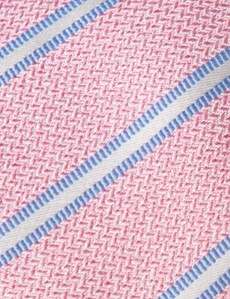 Men's Pink Melange Stripe Tie - 100% Silk