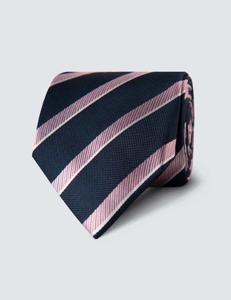 Men's Navy & Light Pink Club Stripe Tie - 100% Silk