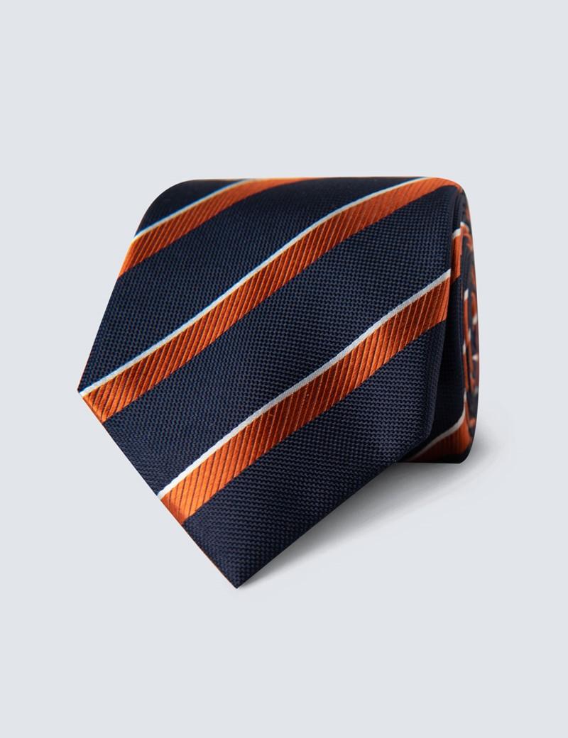 Men's Navy & Orange Club Stripe Tie - 100% Silk