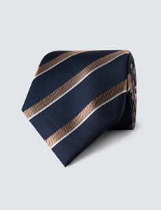 Men's Navy & Camel Club Stripe Tie - 100% Silk
