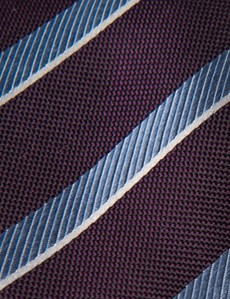 Men's Purple & Light Blue Club Stripe Tie - 100% Silk