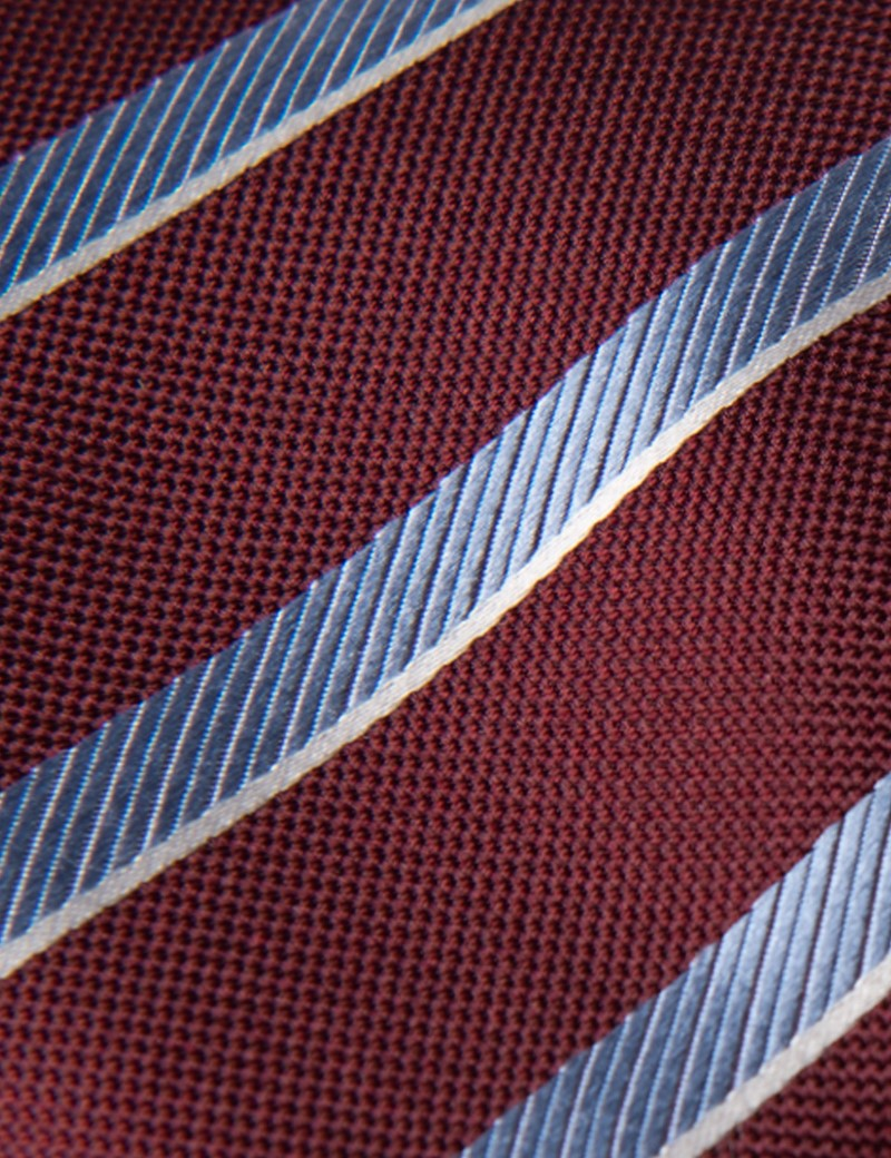 Men's Wine & Light Blue Club Stripe Tie - 100% Silk
