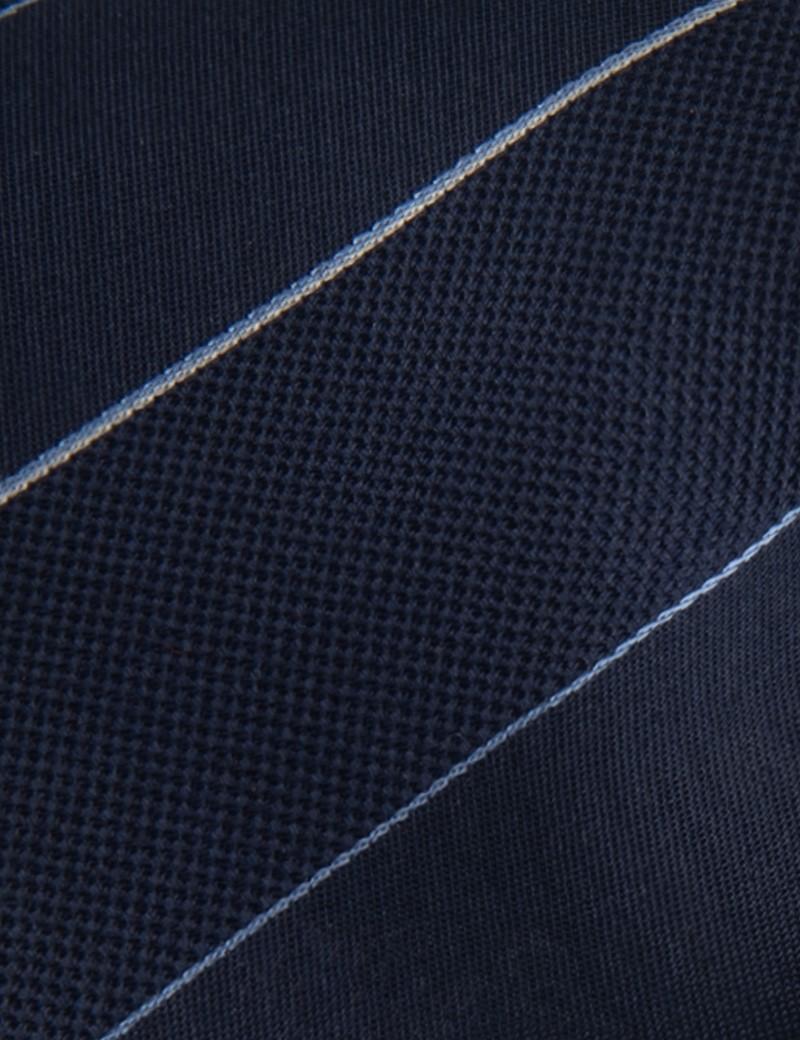 Krawatte – Seide – dunkelblau feine Streifen