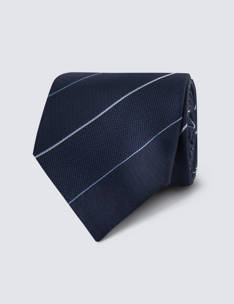 Men's Navy Tonal Stripe Tie - 100% Silk