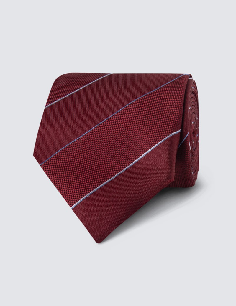 Men's Wine Tonal Stripe Tie - 100% Silk