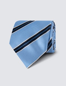 Men's Light Blue Bright Stripe Tie - 100% Silk