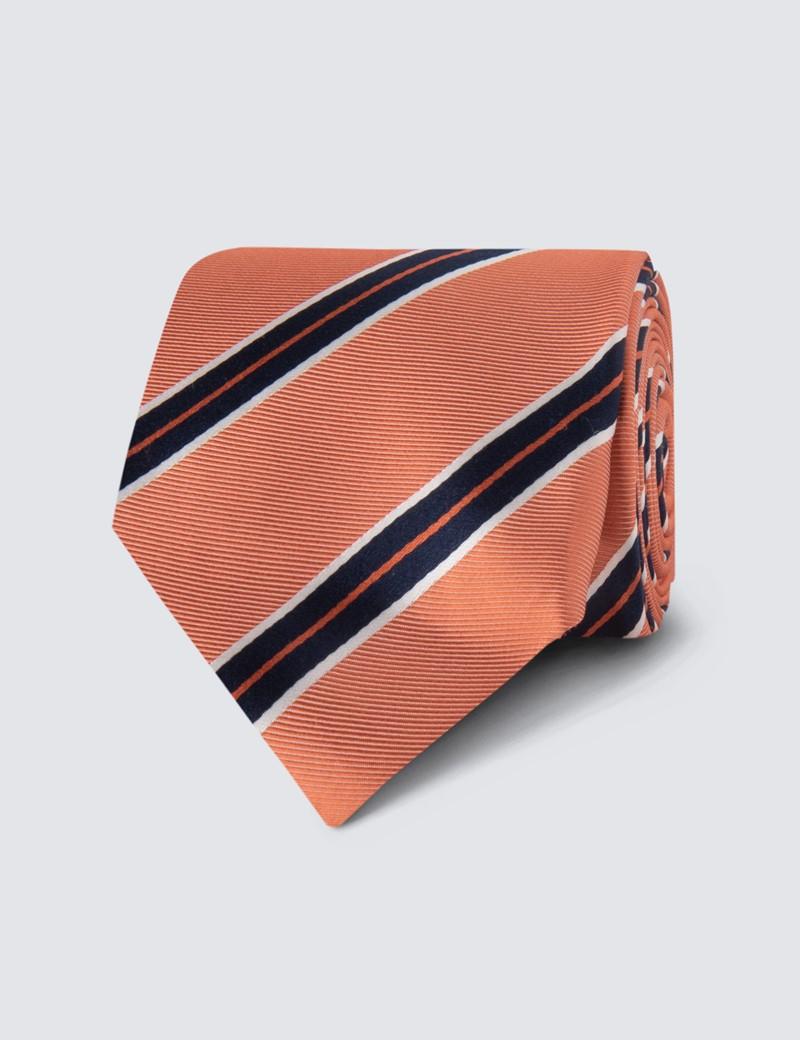 Men's Orange Bright Stripe Tie - 100% Silk