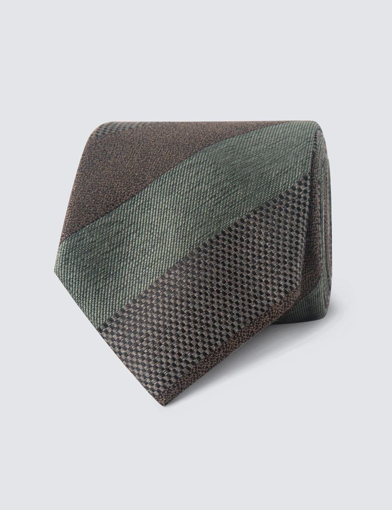 Men's Brown & Green Silk Cotton Stripe Print Tie