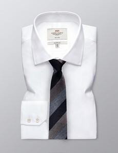 Krawatte – Seide Baumwolle – Standardbreite – Navy Hellblau Gestreift