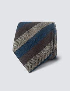 Men's Navy & Brown Silk Cotton Stripe Print Tie