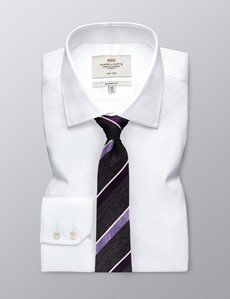 Men's Grey & Purple Silk Cotton Stripe Print Tie